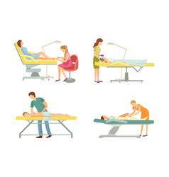 spa salon pedicure and massage icon set vector image