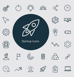 startup outline thin flat digital icon set vector image