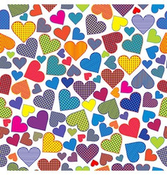 Stylized hearts background seamless pattern vector image