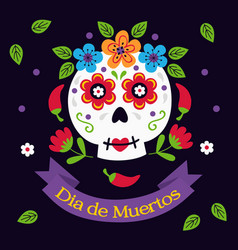 sugar skull with flowers and pepper vector image