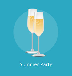 Summer party champagne classical luxury alcohol vector