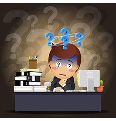 Thinking businessman working on computer vector
