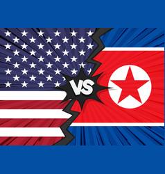 usa versus north korea flag vector image