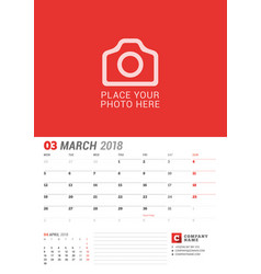 Wall calendar planner for 2018 year march print vector