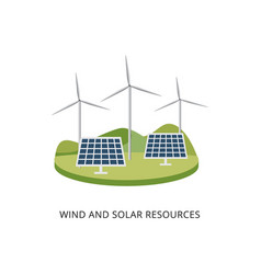 Windmill generators and solar power panel systems vector