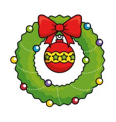 wreath with christmas ball decorative vector image