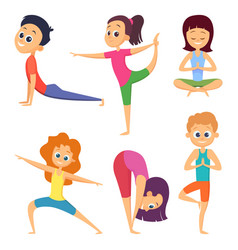 Yoga for kids happy childrens make different vector