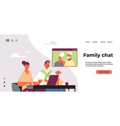 young couple having virtual meeting vector image