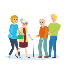 Young people with their relatives walk help them vector