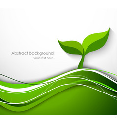 Abstract background in green color with plant vector image