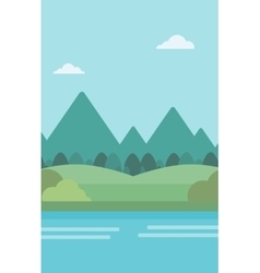 Background of landscape with mountains and river vector image vector image