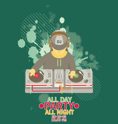 dj character music musical entertainment flat vector image vector image