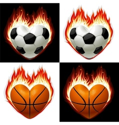 football basketball ball on fire vector image vector image