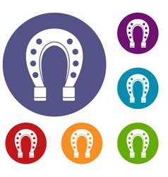 horse shoe icons set vector image