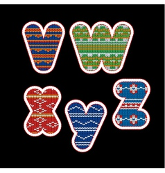 knitted alphabet - VWXYZ vector image vector image