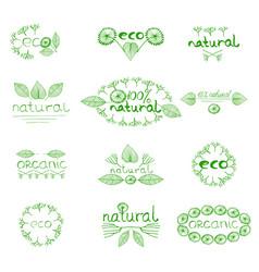 organic eco natural badge vector image