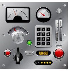 set of meters buttons and other machinery parts vector image vector image