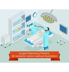 Surgery operating theatre 3d isometric vector