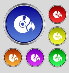 CD icon sign Round symbol on bright colourful vector image vector image