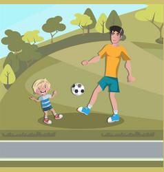 dad and boy playing football vector image vector image