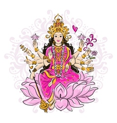 Indian goddess Shakti sketch for your design vector image