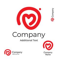modern line heart logo love identity brand vector image