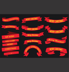 red ribbon banners merry christmas vector image vector image