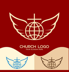 the cross of jesus the globe and the wings vector image vector image