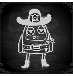 Alien in sheriffs costume drawing on chalk board vector