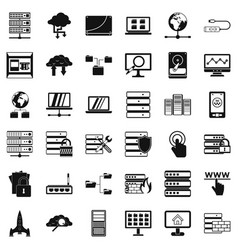 data file icons set simple style vector image vector image