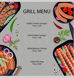 grilled sausages menu vector image