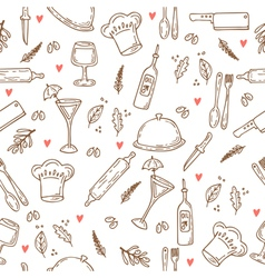 Hand drawn food seamless pattern with hearts vector image vector image