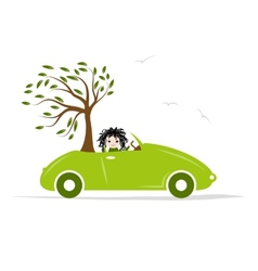Woman carry tree by green car for your design vector image vector image