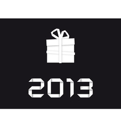 Christmas gift from white paper vector image