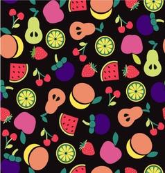 Fruit pattern on Black background vector image vector image