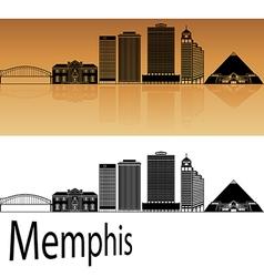 Memphis skyline in orange vector image vector image