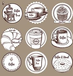 Sketch coffee labels vector image