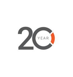 20 years anniversary celebration orange template vector