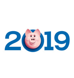 2019 with pig face chinese new year greetings vector