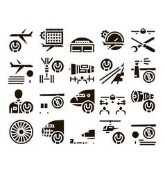 Aircraft repair tool glyph set vector