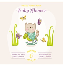baby cat on a horse - shower or arrival card vector image