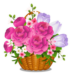 Basket filled with cut spring or summer flowers vector