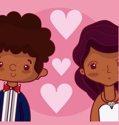 Beeautiful wedding couple cartoon vector