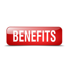 Benefits red square 3d web button vector