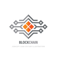 block chain logo template design electronic vector image