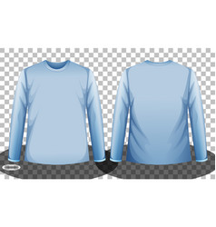 Blue long sleeve t-shirt front and back side vector