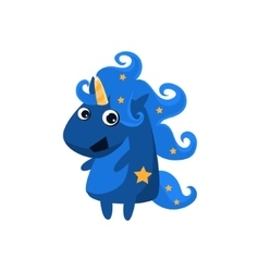 Blue Night Unicorn With Stars vector