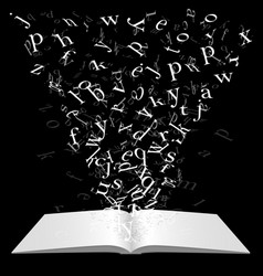 book with flying letters vector image