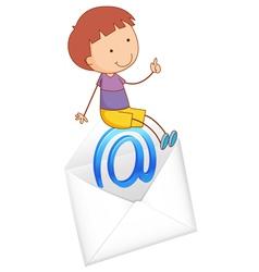 Boy sitting on envelope vector image vector image