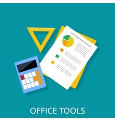 Calculator Ruler and Paper Office Tools vector image